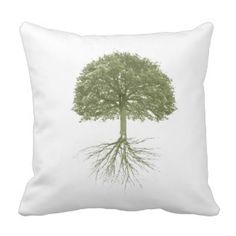 Beautiful Tree With Roots Throw Pillow by Claudia H. Blanton