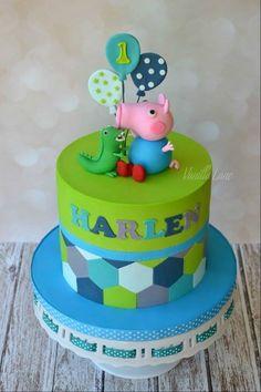 George pig cake Plus Tarta George Pig, Cumple George Pig, George Pig Cake, Peppa E George, George Pig Party, Toddler Birthday Cakes, Peppa Pig Birthday Cake, 3rd Birthday, Birthday Ideas