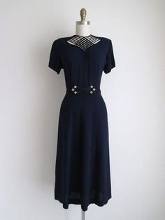 1940's NavyCrepe Dress