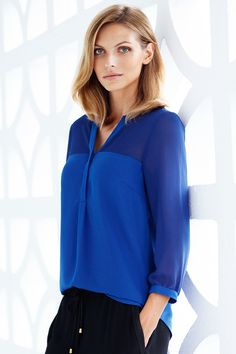Cobalt blue satin blouse with contrasting see-through yoke section. | H&M Modern Classics