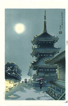 Moon at Kiyomizu Temple by Asada Benji -- have this sudden urge to go back to visit Kyoto