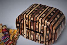 Striped wooden bandsaw trinket box Reuben's woodcraft on Folksy Drawer Handles, Trinket Boxes, Wood Crafts, Hardwood, Wax, Natural Wood, Draw Handles, Drawer Pulls, Woodworking Crafts