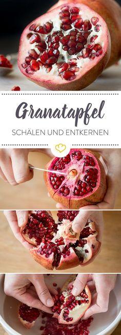 Du weißt nicht, wie du an die roten Kerne des Granatapfels kommst? Mit diesen Tipps öffnest und schälst du die Frucht ganz einfach - ohne zu spritzen.