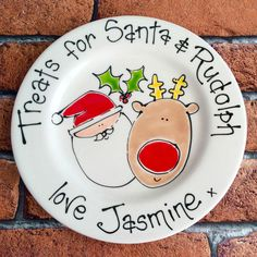 Personalised Handpainted Christmas Santa Treat Cookie Plate Xmas Eve Gift in Home, Furniture & DIY, Celebrations & Occasions, Christmas Decorations & Trees | eBay