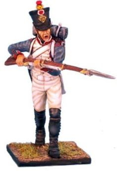 Napoleon's Grande Armée NAP0046 French 18th Line Infantry Fusilier Charging - Made by First Legion Military Miniatures and Models. Factory made, hand assembled, painted and boxed in a padded decorative box. Excellent gift for the enthusiast.