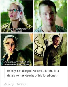 Felicity, making Oliver smile for the first time after the deaths of his loved ones. Arrow Cw, Arrow Oliver, Team Arrow, Oliver And Felicity, Felicity Smoak, Arrow Felicity, Supergirl Dc, Supergirl And Flash, The Flash