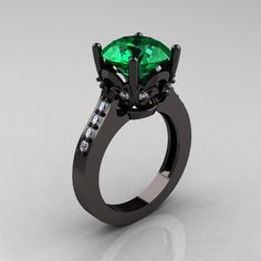Exclusive Classic 14K Black Gold 30 Carat Emerald by artmasters, $2,099.00