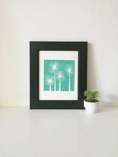 Teal Trees Mid Century Modern Art linocut print by RetroModernArt, $24.00