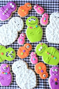 The cutest monster cookies made from a nesting doll cookie cutter set