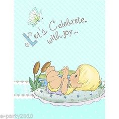 PRECIOUS-MOMENTS-BABY-BOY-INVITATIONS-8-Shower-Party-Supplies-Stationery