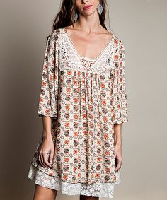 Look at this Taupe Floral Crochet Scoop Neck Tunic on #zulily today!