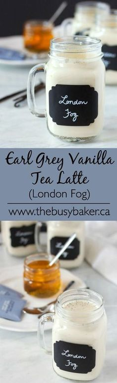 Earl Grey Vanilla Tea Latte (London Fog) The best homemade London Fog recipe ever! So healthy and delicious, and all natural! The Busy Baker: Earl Grey Vanilla Tea Latte (London Fog) Non Alcoholic Drinks, Fun Drinks, Yummy Drinks, Healthy Drinks, Yummy Food, Beverages, Tasty, Holiday Drinks, Tea Recipes