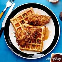 Beer-Battered Fried Chicken & Cornmeal-Scallion Waffles from Rachael ...