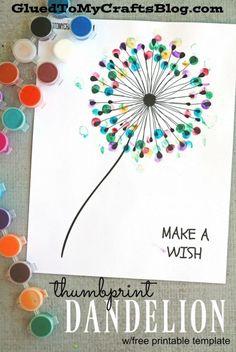 Thumbprint Dandelion - Kid Craft #kidscrafts