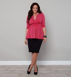 Kiyonna Clothing: Hazel Hi-Lo Peplum Top
