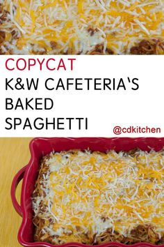 K&W is a popular cafeteria in the south east and is known for its delicious baked spaghetti. This copycat version is made with ground beef, pasta, ketchup, beef stock, lots of seasonings and two types Spaghetti Recipes, Pasta Recipes, Beef Recipes, Cooking Recipes, Recipies, Italian Dishes, Italian Recipes, Italian Pasta, Baked Spagetti