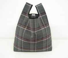 Tartan tote bag handmade with gray squared by AtelierSettembre