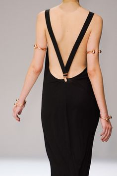 multiple gold arm cuffs- Veronique Branquinho SS 2013 suspender dress
