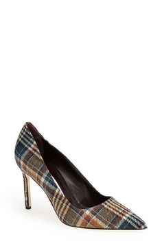 ♡!!! But I need a payless price tag!   Manolo Blahnik 'BB' Plaid Pointy Toe Pump (Women) available at #Nordstrom