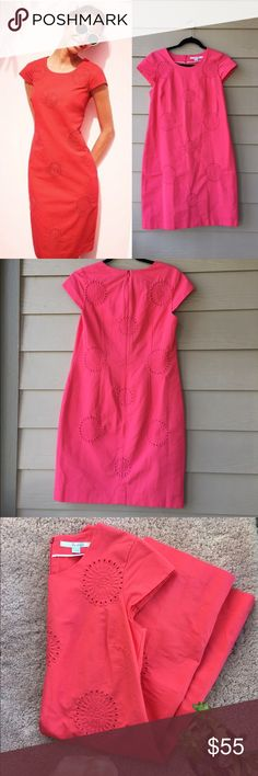 Boden Coral Lined Embroidered Eyelet Shift Dress NWOT Perfect Dress for Spring! 🌺🌸 Anthropologie Dresses Mini