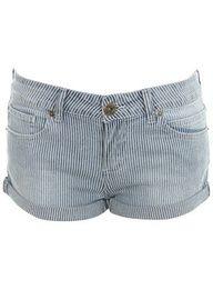 Ticking Stripe Denim Shorts - Jeans