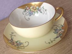 Antique 1930's Art Deco tea cup and saucer, yellow tea cup, antique tea cup, antique porcelain tea set, antique tea cups, yellow cups