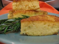 Rosemary Polenta.    I used only milk (2%) instead of 1/2 half-and-half, 1/2 the suggested amount of butter and served it creamy (didn't chill and sauté per the directions) and it was delicious.  I can't wait to make it again!