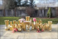 Metallic Gold Vases, Collection of 10 Gold Vases for Weddings, Parties, Home Decor, Christmas Decor