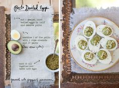 Pesto Deviled Eggs! A fun appetizer when entertaining (or on your own while cooking dinner with a martini!). The avocado replaces some of the mayo and yolk in the filling so they are creamier and lighter. More photos and the full recipe are in my Guest Recipes post in Anthology Magazine this week.  By Erin Gleeson for The Forest Feast
