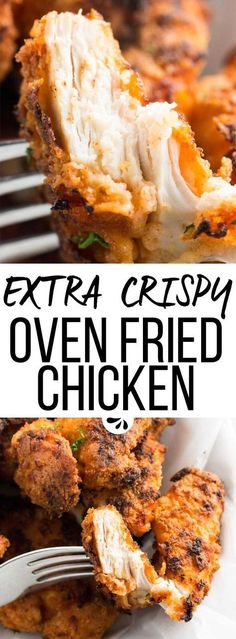 The best recipe for Crispy Oven Fried Chicken! Strips of boneless and skinless chicken breasts are breaded with breadcrumbs and baked to crunchy perfection on a tray with butter. Simple to make, this might not be healthy food but it's a lot healthier than