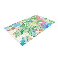 Kess InHouse Julia Grifol My Butterflies /& Flowers in Green Rainbow Floral Luxe Rectangle Panel 24 x 36