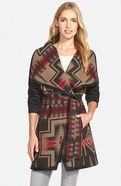Pendleton Jacquard Wool Blanket Wrap Coat available at girl needs a Pendleton coat! Fall Fashion 2016, 70s Fashion, Autumn Fashion, Fashion Outfits, Fall Outfits, Fashion Ideas, Pendleton Coat, Coats For Women, Clothes For Women