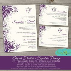 Purple & Gray Flourish Wedding Invitation, Elegant, Sophisticated,  DIY, Printable, RSVP, Swirls, Gray, Sage Green, Signature Package on Etsy, $70.00