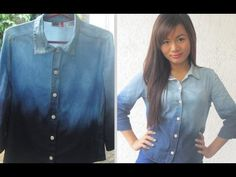 DIY- How To Ombre Acid Wash a Denim Shirt- super cute and easy!