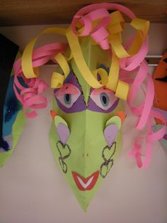 These masks were made by 5 th  graders with my sub, Jennifer Boudreau ! They turned out great! Got many complements!  ...
