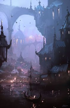 I can't tell if this is a futuristic city or a historical fantasy one and I love it! fantasy setting for RPG city by night bridge, lights, water and boat Fantasy Artwork, Fantasy Art, Illustration Art, Fantasy Landscape, Environment Design, Fantasy City, Art, Environmental Art, Landscape Art