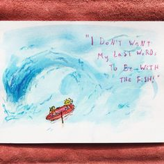 """""""I don't want my last words to be with the fish!"""" Ocean adventurers find themselves in a storm! Little do they know, the land of honey and smarties is just beyond this wave... #adventure #ocean #illustration #art #graphicart #wave #boat #sail #crayon #watercolour"""