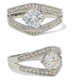 1 CT. CZ Solitaire with Pave CZ Engagement Ring Size 9 | Hope Chest Jewelry, $27.49