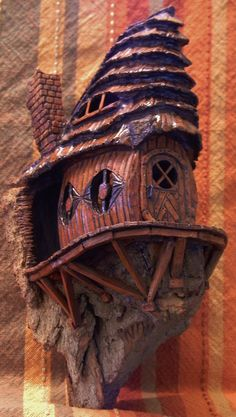 Cottonwood Bark - House w_deck - carved