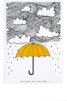 The Yellow Umbrella - Illustration by: Taren S. Black. $15.00 USD, via Etsy.