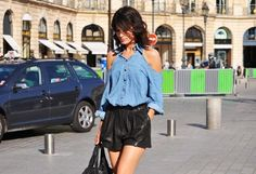 Lovin' this cold-shoulder denim shirt... perfect outfit for a day of exploring