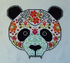 Panda Sugar Skull Cross Stitch Pattern. $4.50, via Etsy.