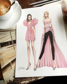 Fashion Illustration Speed Painting with Ink - Drawing On Demand Dress Design Sketches, Fashion Design Sketchbook, Fashion Design Drawings, Fashion Sketches, Dress Illustration, Fashion Illustration Dresses, Fashion Illustrations, Fashion Art, Fashion Models