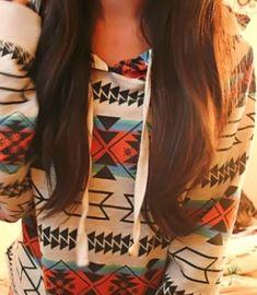 Comfy aztec print warm hoodie fashion