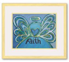 Faith Angel Art Framed Poster Art Print Gold