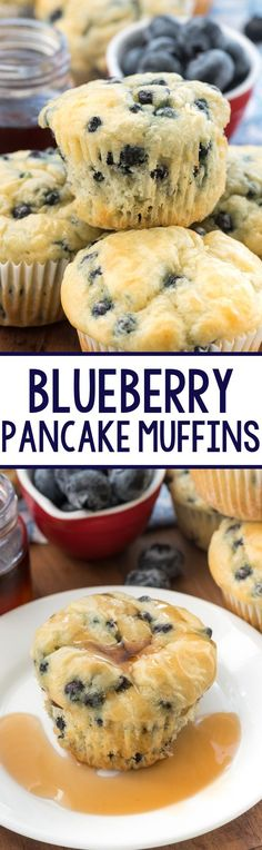 Blueberry Pancake Muffins - these easy muffins are made with pancake batter. They're great for on the go or with syrup for an easy make-ahead breakfast!