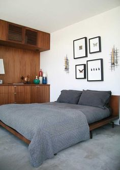 minimalist bedroom of 660-square-foot prefab home