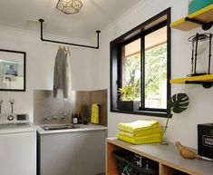 16 Laundry Room Organization Ideas: Hacks, Products & Photos   Apartment Therapy Laundry Room Drying Rack, Laundry Room Organization, Laundry Room Design, Organization Ideas, Storage Ideas, Laundry Rack, Garage Laundry, Basement Laundry, Small Laundry