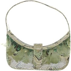 Pre-owned Pochette with peacock feathers (2.915 DKK) ❤ liked on Polyvore featuring bags, handbags, green, mcm handbags, white clutches, leather purses, leather clutches and white purse