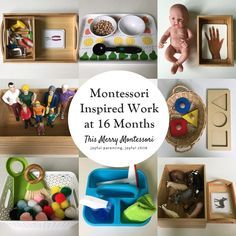 Montessori Inspired Work at 16 Months (This Merry Montessori) Montessori Trays, Montessori Playroom, Montessori Education, Montessori Toddler, Montessori Materials, Montessori Activities, Baby Education, Dinosaur Activities, History Education